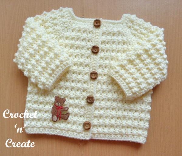 Knobbly Baby Cardi and  Hat , 6-12 mos-b4-jpg