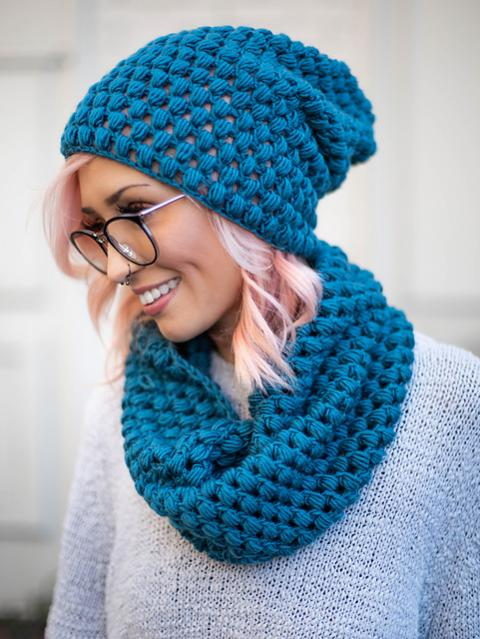 Perfectly Puff Beanie and Cowl Set for Women-c1-jpg