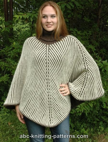 Reversible Brioche Poncho for Women, S-3X, knit-r4-jpg