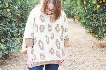 Snow Leopard Poncho for Women, XS-XL-w3-jpg