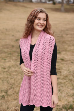 Sea Isle Cotton Feather and  Fan Scarf, knit-d1-jpg