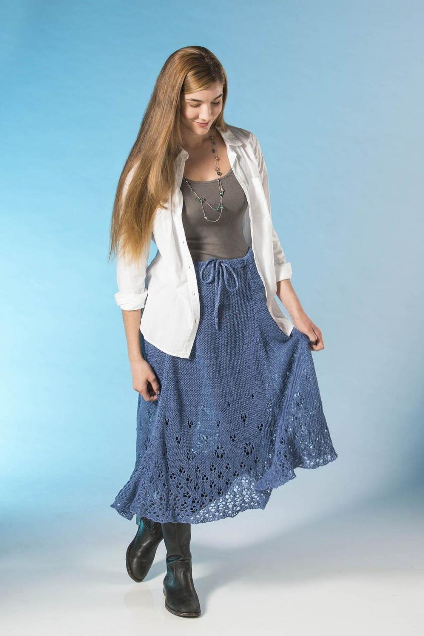 Eyelet Skirt for Women, XS-3XL, knit-a1-jpg