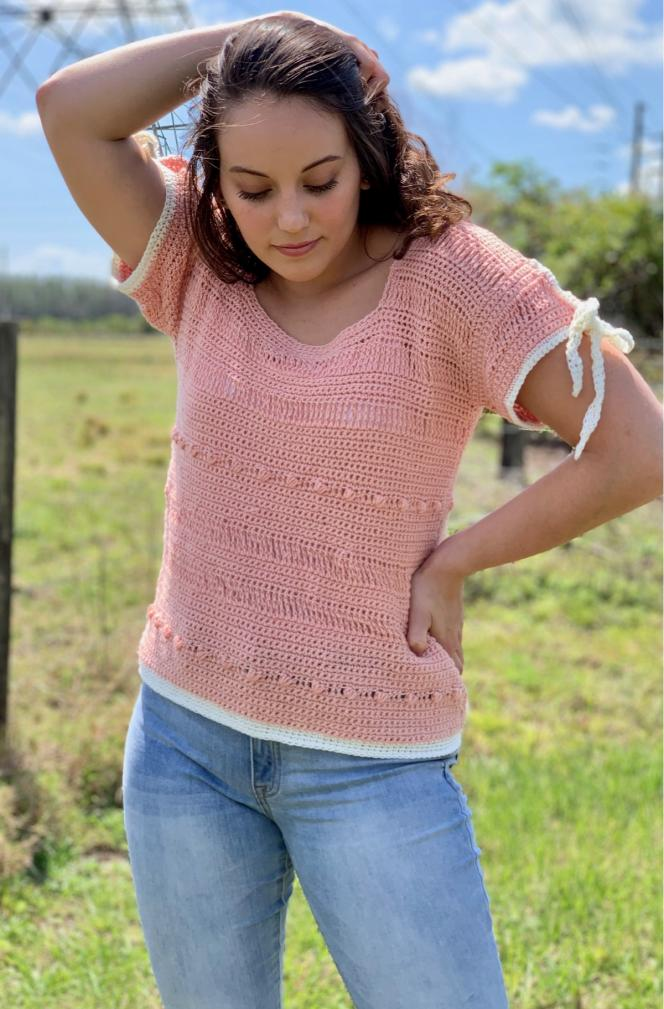 Spring Ribbon Sleeved Tee for Women,  S-XL-q3-jpg