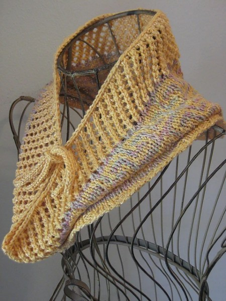 Fretted Band Cowl for Women, knit-a1-jpg