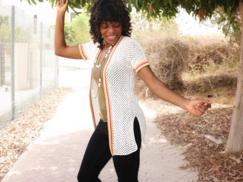 Colour Stripe Mesh Cardigan for Women, XS-4XL-w1-jpg