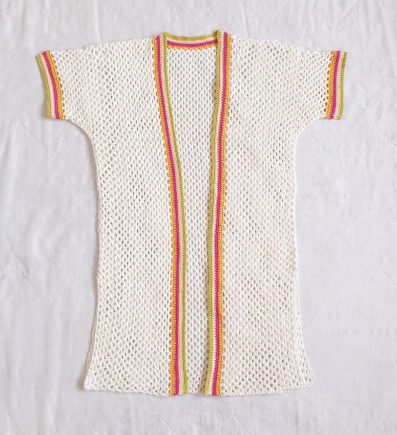 Colour Stripe Mesh Cardigan for Women, XS-4XL-w4-jpg